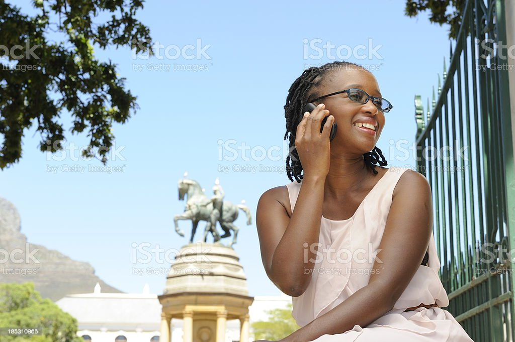 Beautiful African woman in Cape Town park royalty-free stock photo