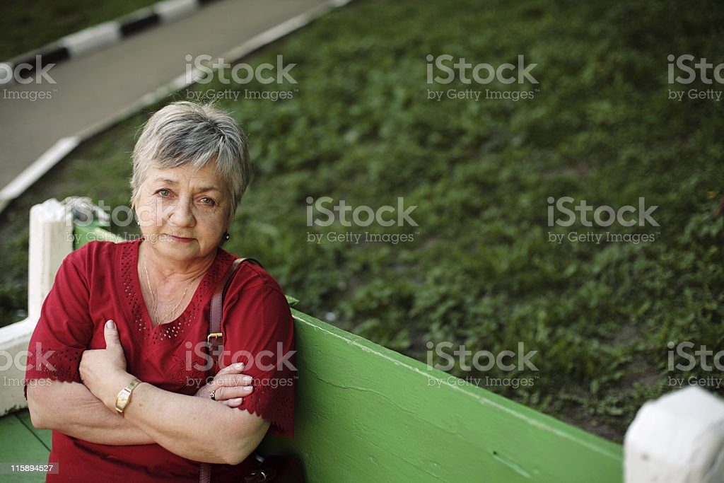 beautiful aged woman outdoors royalty-free stock photo