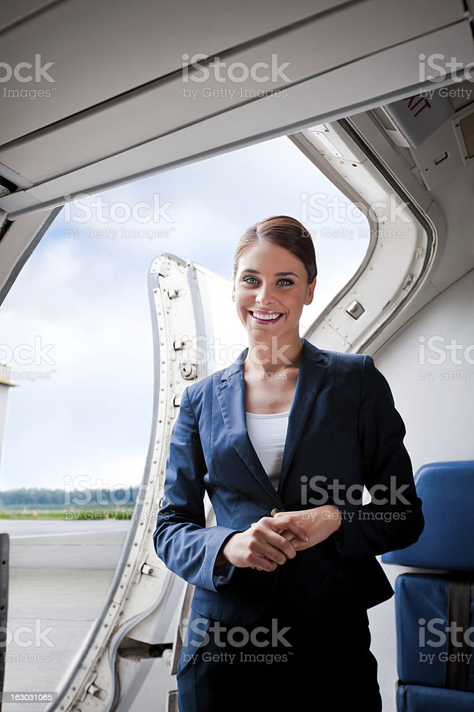 Beautiful air stewardess royalty-free stock photo