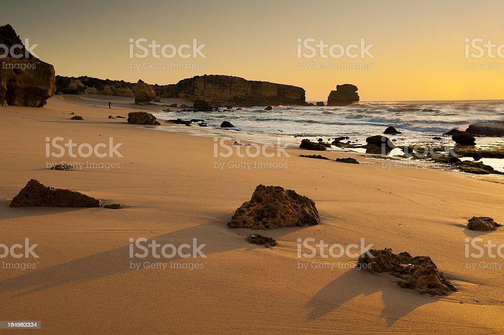 Beautiful Algarve beach at sunrise royalty-free stock photo