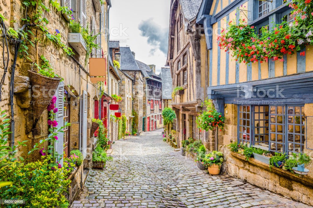 Beautiful alley in an old town in Europe stock photo
