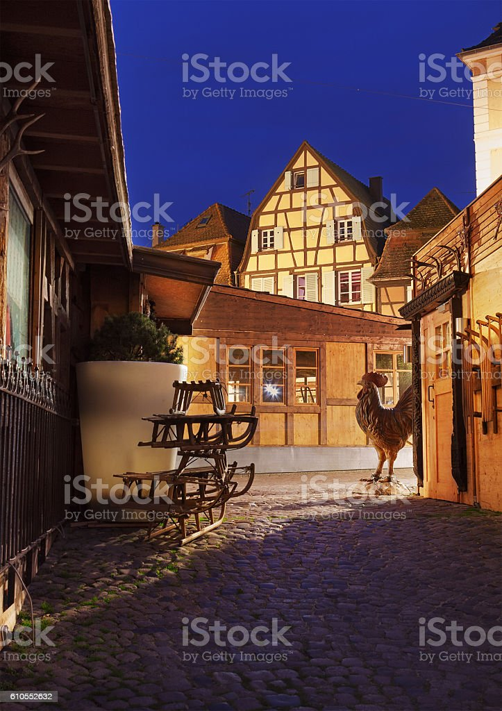 Beautiful alley in Colmar, Alsace, France. stock photo