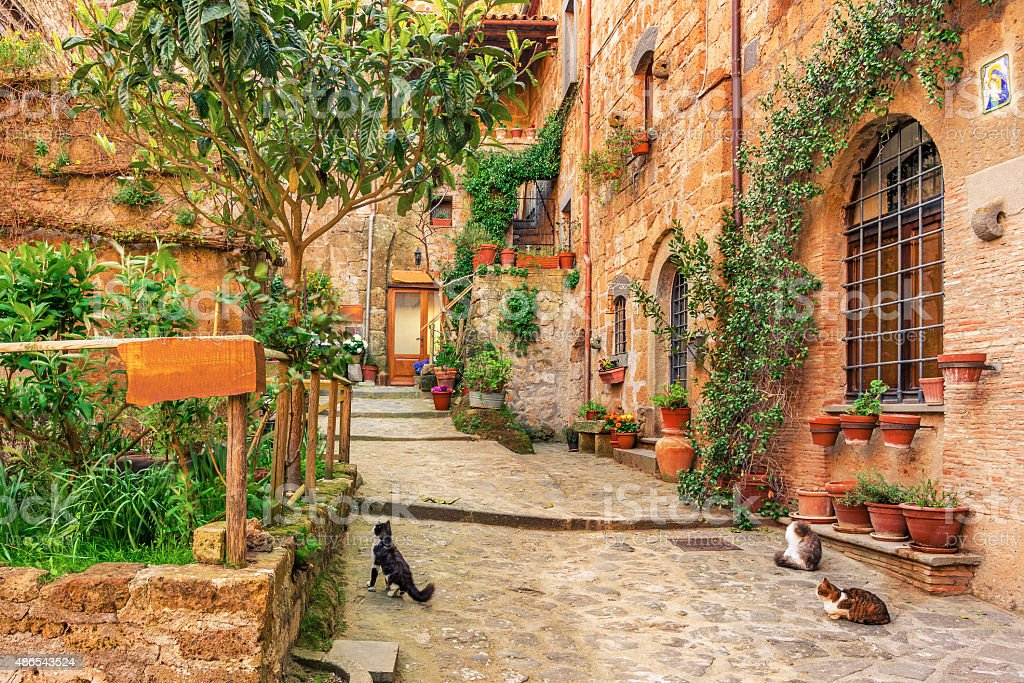 Beautiful alley in old town Tuscany stock photo