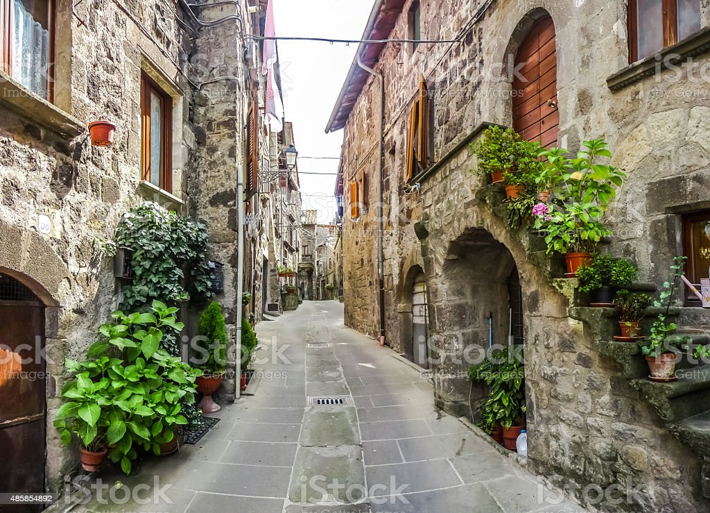 Beautiful alleyway in the historic town of Vitorchiano, Lazio, Italy stock photo