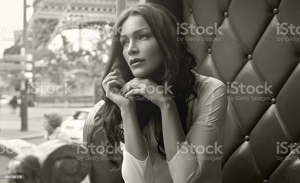 Beautiful alluring woman in Paris stock photo