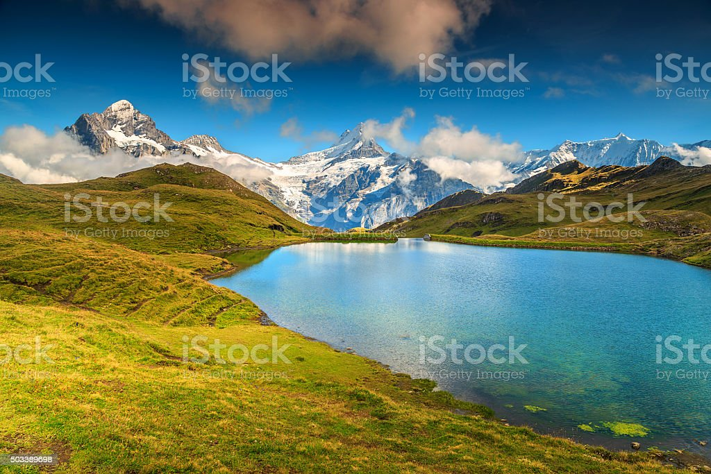 Beautiful alpine lake Bachalpsee,Grindelwald,Switzerland,Europe stock photo