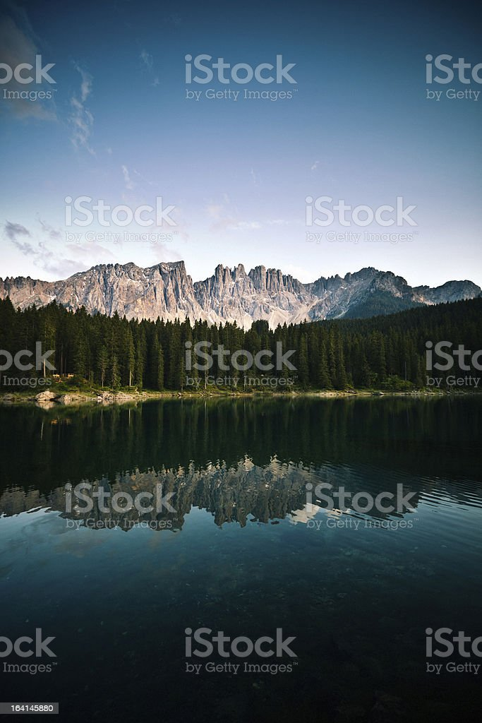 Beautiful Alpine Lake Reflection at Sunset, Dolomites, Italy royalty-free stock photo