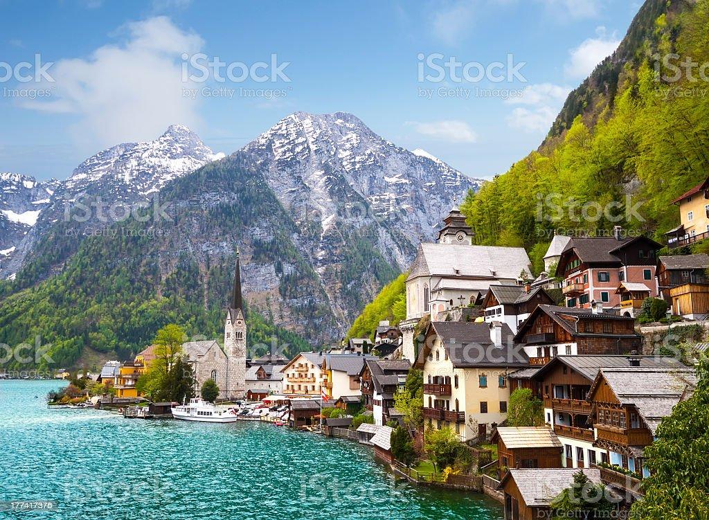 A beautiful Alpine resort in Hallstatt town stock photo