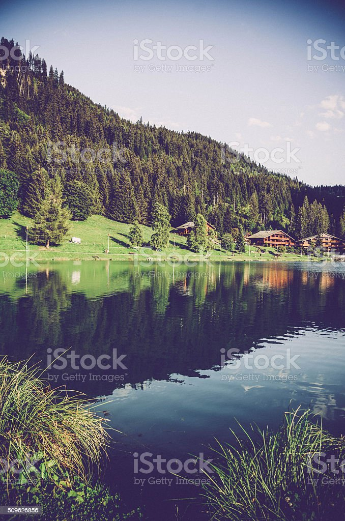 Beautiful Alps Lake in Chatel - France stock photo