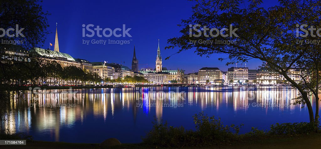 Beautiful Alster Lake in the evening stock photo
