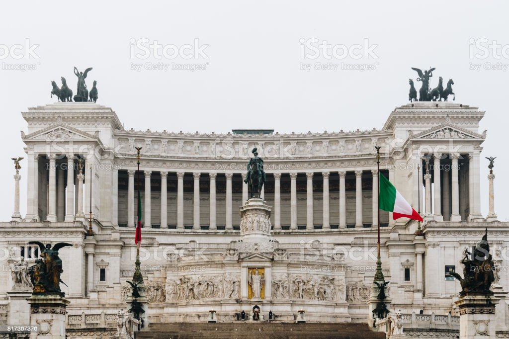 Beautiful Altar Of The Fatherland (Altare della Patria, known as the national Monument to Victor Emmanuel II or II Vittoriano ) at sunset.Famous Roman landmark. Piazza Venezia. Rome. Italy. Europe. stock photo