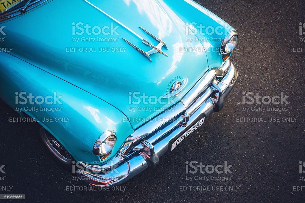 Beautiful american car on Havana street, Cuba stock photo