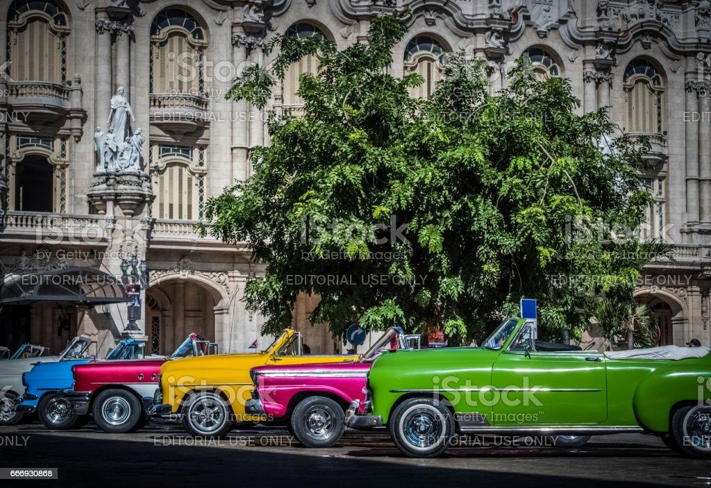 Beautiful american convertible vintage cars in Havana Cuba stock photo