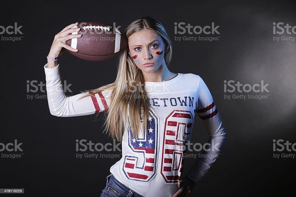Beautiful American football fan royalty-free stock photo