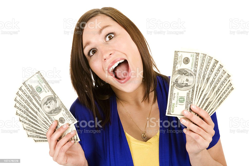Beautiful American woman wins money school loan student excited smiling stock photo