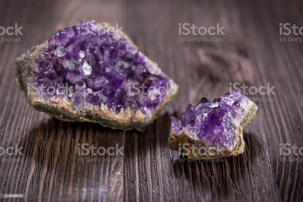 Beautiful amethyst druse close-up stock photo