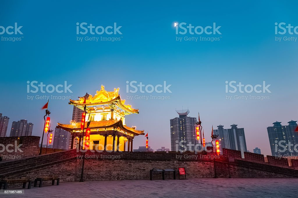 beautiful ancient city wall of xi'an stock photo