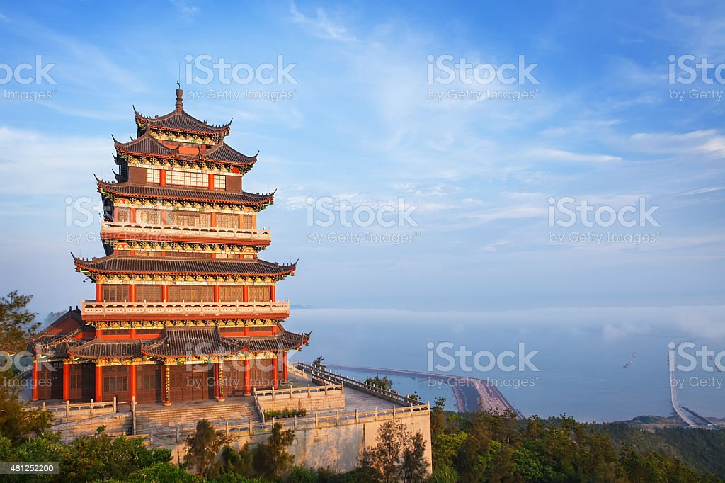 Beautiful ancient temple on the seaside, China stock photo