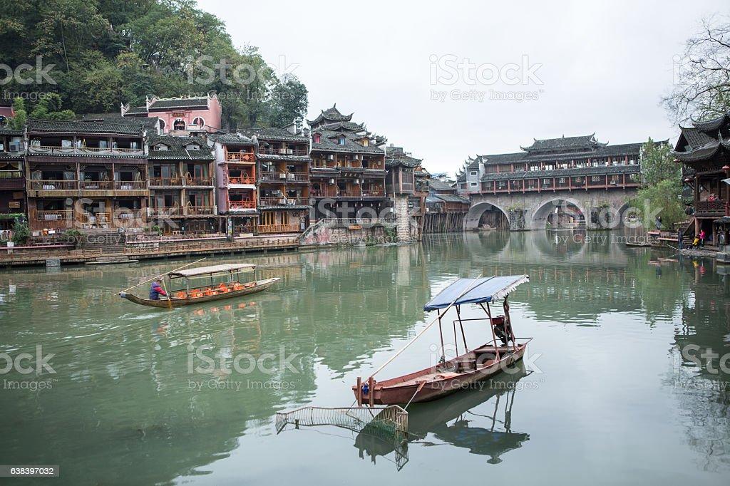 Beautiful ancient village, Fenghuang county, Hunan, China stock photo