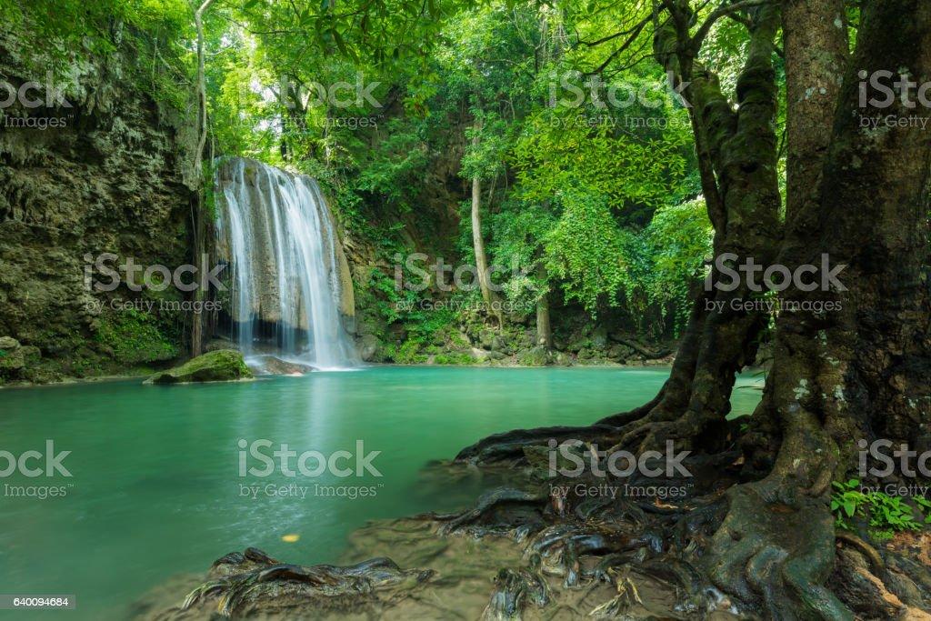 Beautiful and Breathtaking green waterfall, Erawan's waterfall stock photo