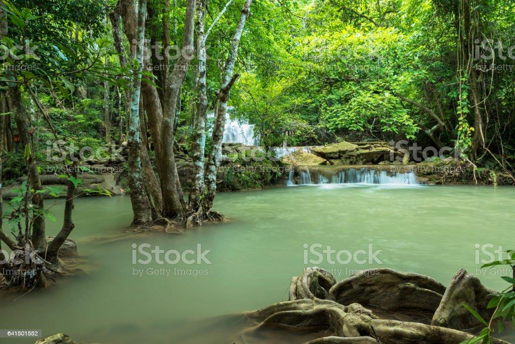 Beautiful and Breathtaking green waterfall, Huay Mea Kamin's waterfall stock photo