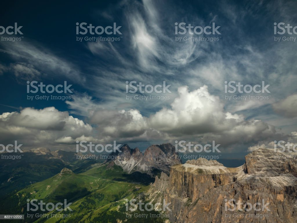 Beautiful and breathtaking panorama of the Dolomites in Italy stock photo