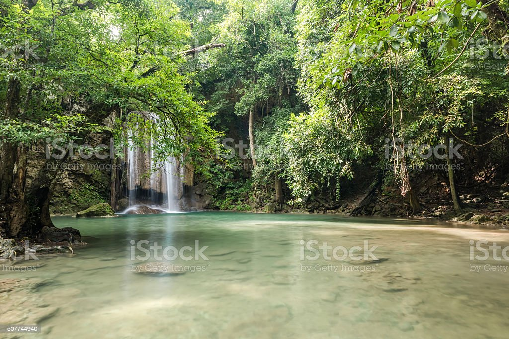 Beautiful and Breathtaking turquoise waterfall stock photo