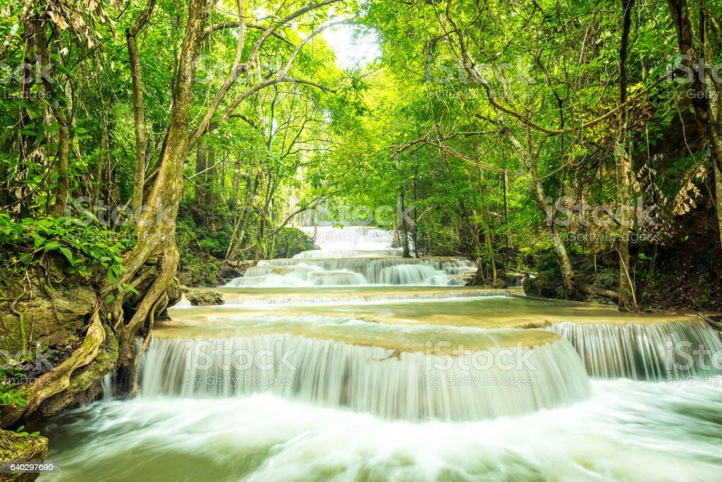 Beautiful and Breathtaking waterfall, Huay Mea Kamin waterfall stock photo