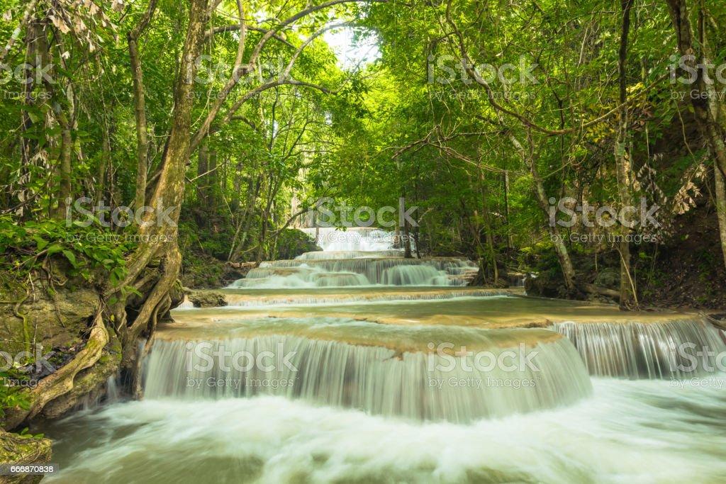 Beautiful and Breathtaking waterfall stock photo
