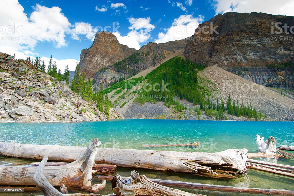 Beautiful and Clear Moraine Lake in Banff, Canada stock photo