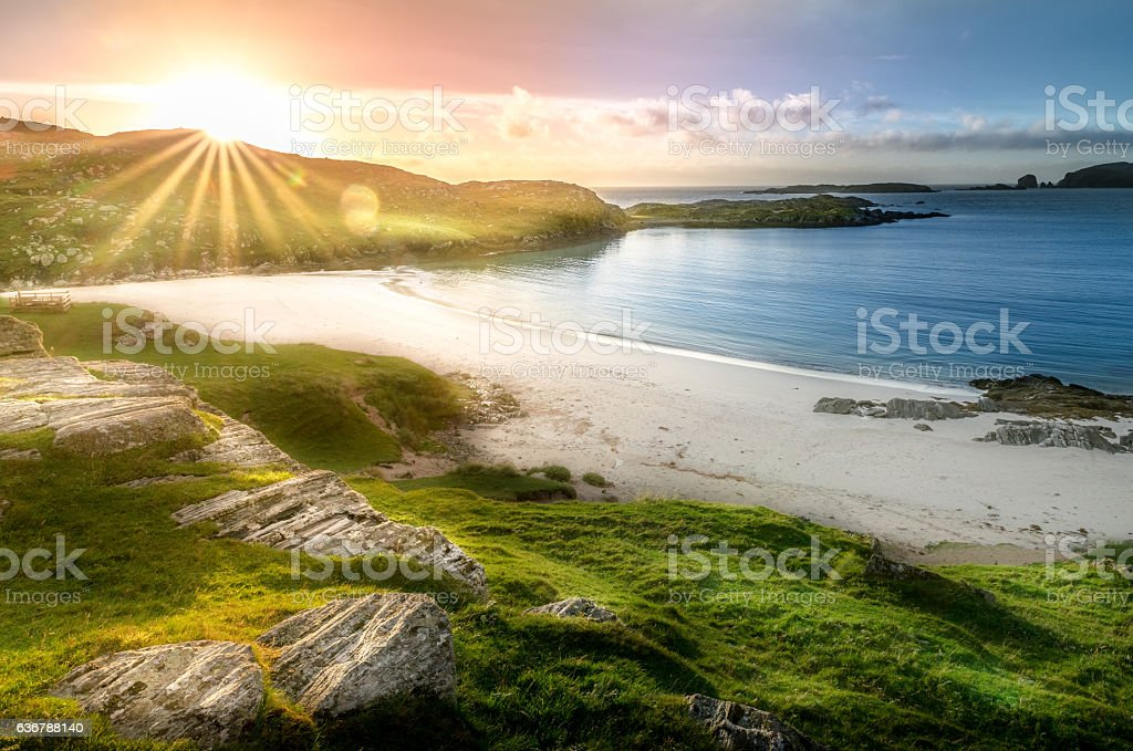 Beautiful and colorful landscape on the ocean stock photo