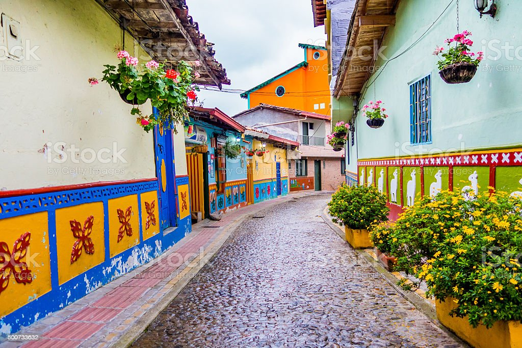 Beautiful and colorful streets in Guatape, known as town of stock photo