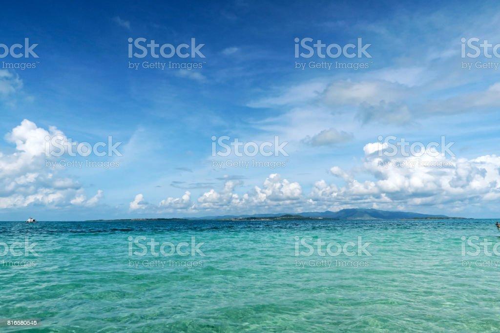 Beautiful and Coral Sea at Okinawa islands stock photo