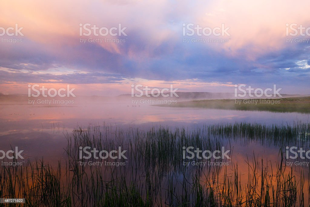 Beautiful and dramatic sunrise in Yellowstone National Park stock photo