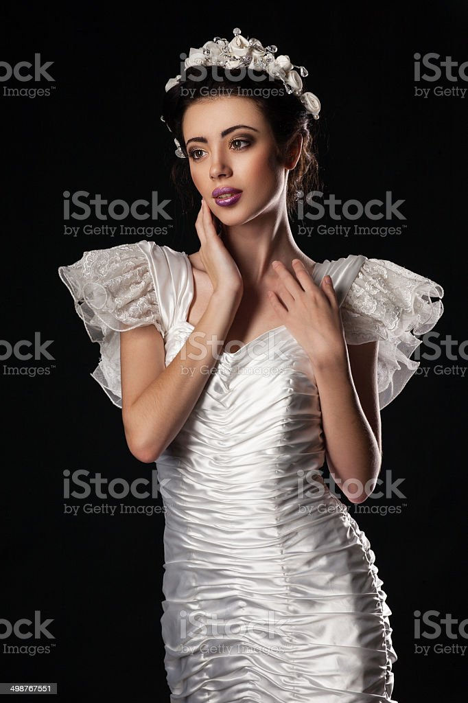 beautiful and elegant model in Wedding dress stock photo