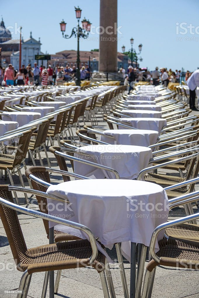 Beautiful and expensive street cafe at St Mark s sqaure Lizenzfreies stock-foto