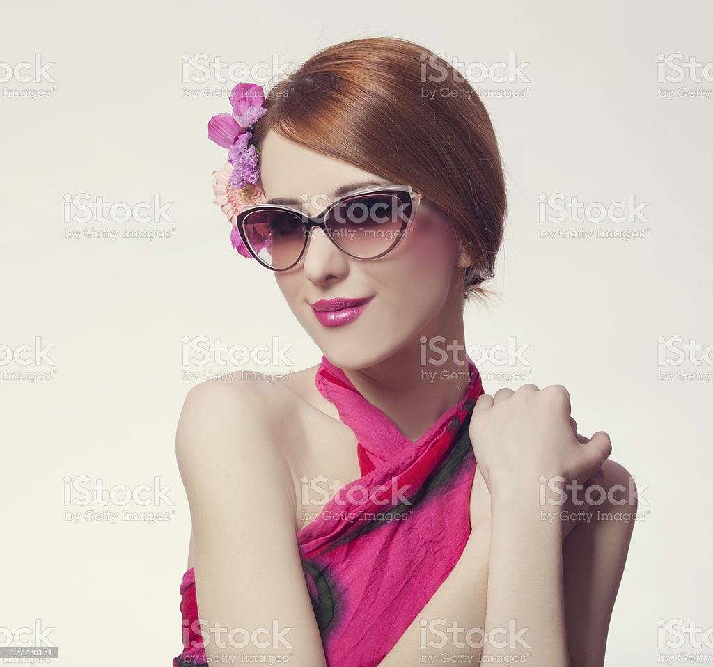 beautiful and fashion girl in sunglasses royalty-free stock photo