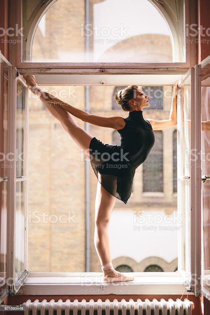 Beautiful and graceful ballerina stock photo
