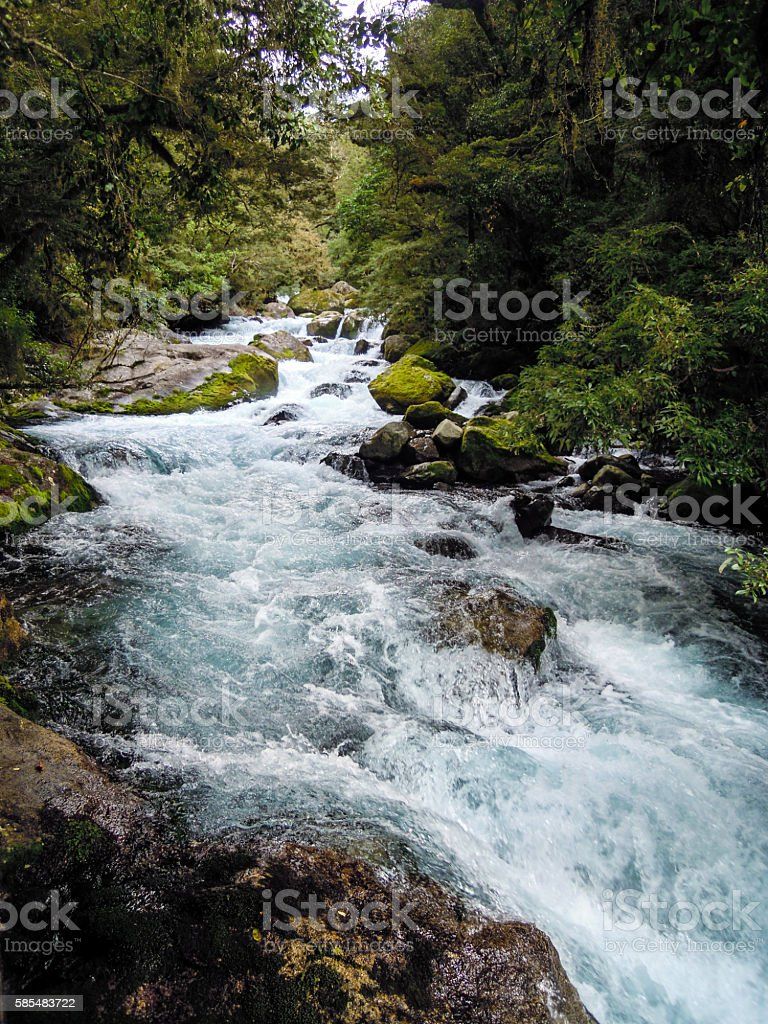 Beautiful and impressive river on the way to Lake Marian stock photo