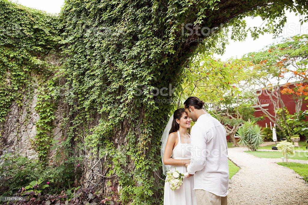 Beautiful and loving wedding couple royalty-free stock photo