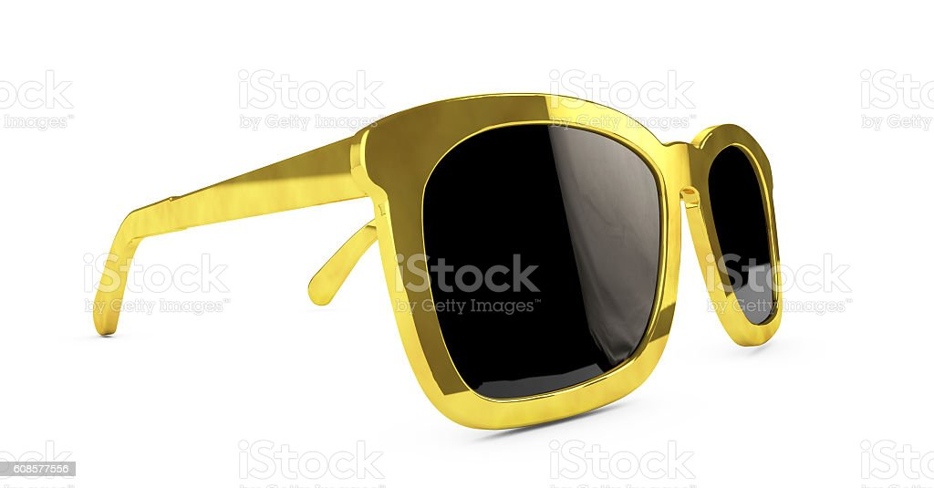 Beautiful and modern glasses in a gold frame 3d render stock photo