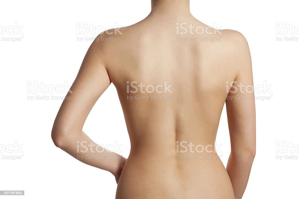 Beautiful and naked female back view stock photo