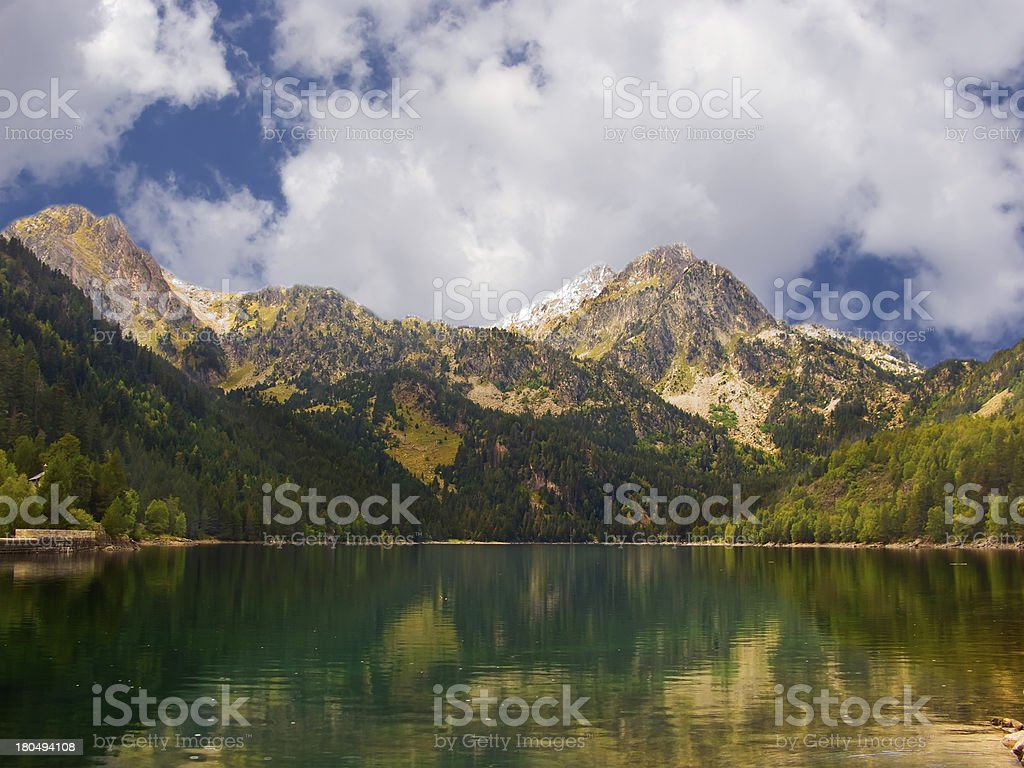 Beautiful and peaceful lake in Vall D'Aran (Pyrenees) royalty-free stock photo