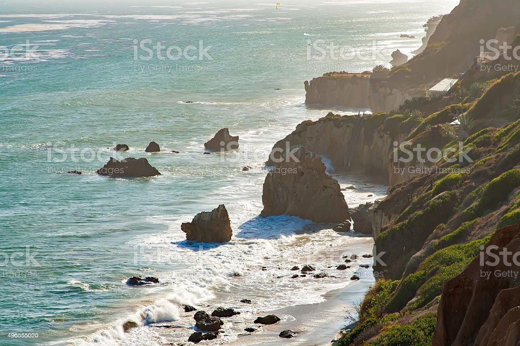 Beautiful and romantic El Matador Beach in Malibu stock photo