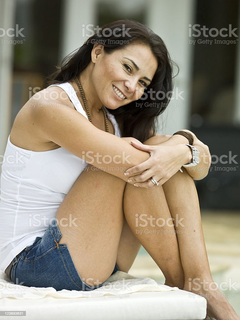Beautiful and sexy Hispanic forty something woman stock photo