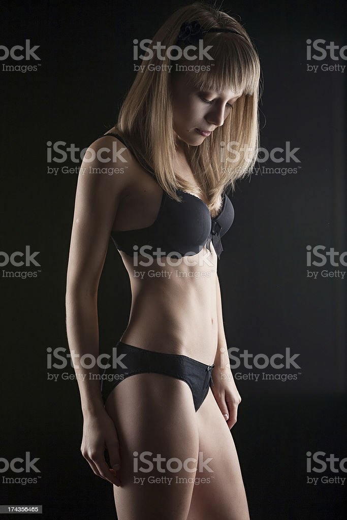 Beautiful and sexy woman wearing black lingerie stock photo