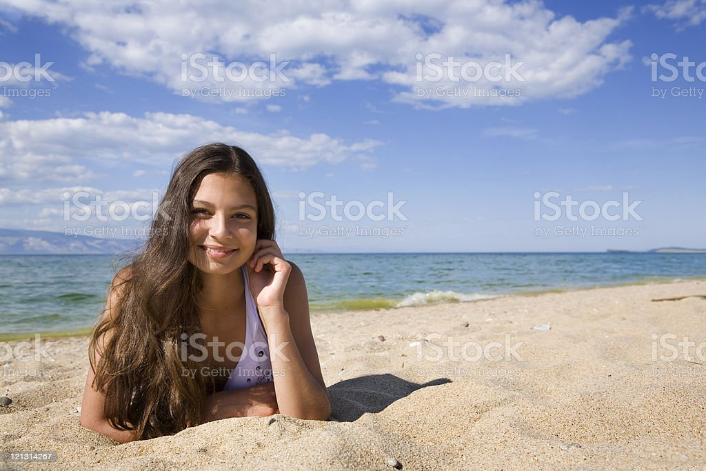Beautiful and sexy young woman at the beach. royalty-free stock photo