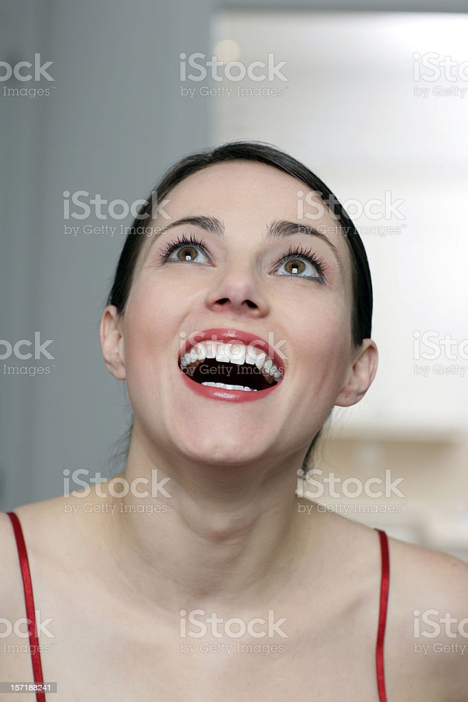 Beautiful and surprised stock photo