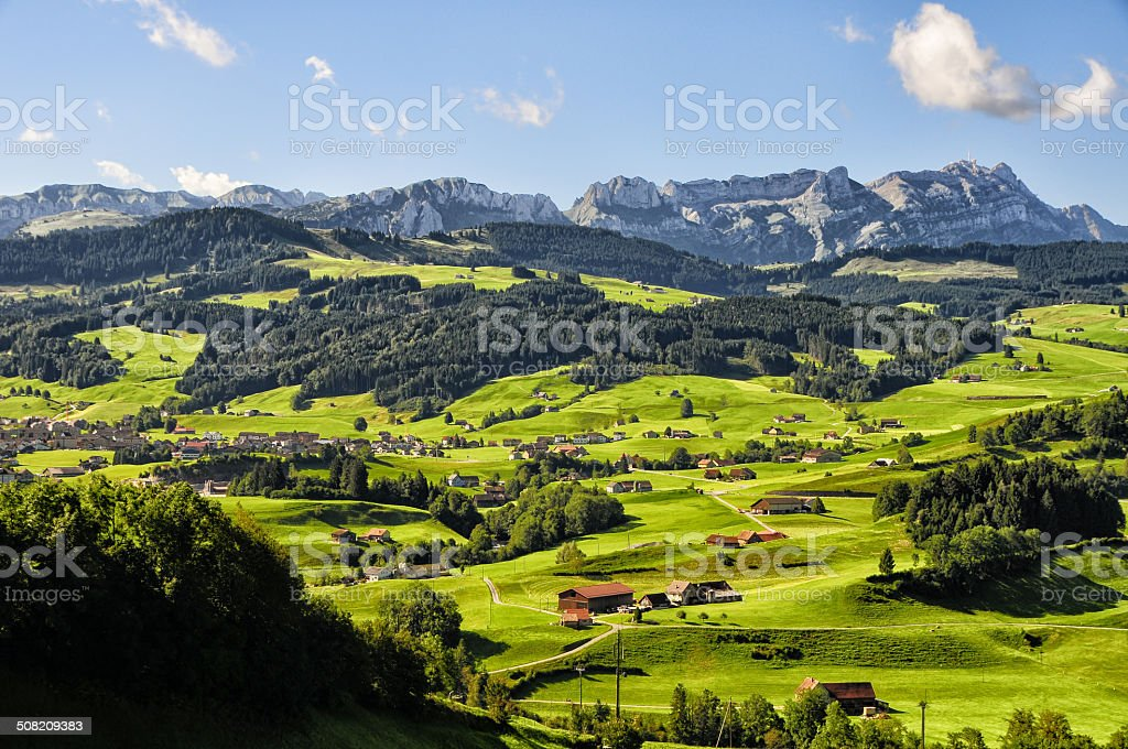 beautiful and typical patchwork landscape in Appenzell, Switzerland stock photo
