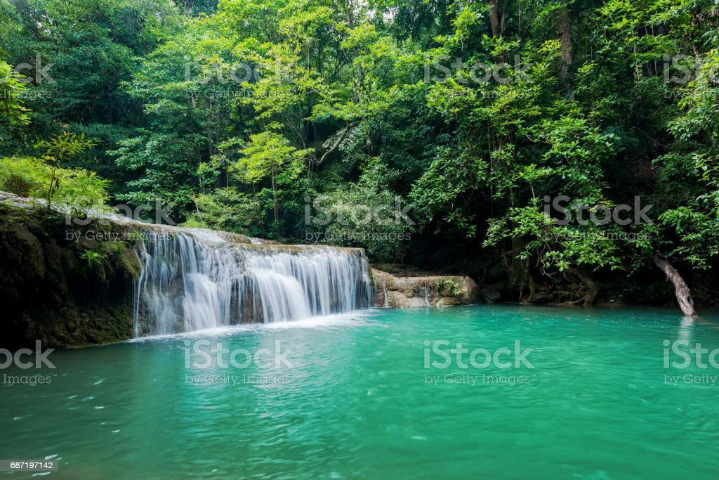 Beautiful and very nice green waterfall for relaxation stock photo